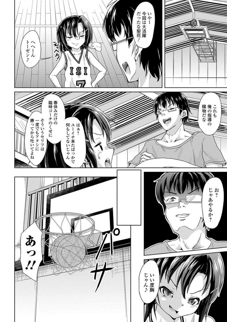 【JSエロ漫画】スポーティなバスケ少女とコーチの童貞&処女セックス!女児の汗をべろべろ!_00002
