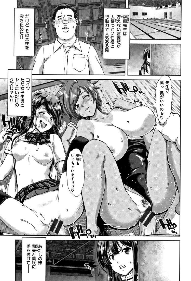 【JKエロ漫画】ロリコン教師の穴にされてしまう水泳三姉妹wアナルも拡張されて悶絶中出し!
